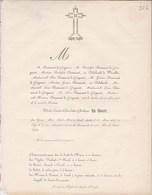 MONS Sainte-WAUDRU Félicité DE WOLFF épouse DESMANET De GRIGNART 77 Ans 1853 DELEHAUT De WARELLES - Obituary Notices