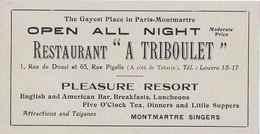 Restaurant Triboulet, Pleasure Resort, English American Bar, Montmartre Singers, Pigalle, 1914 - Pubblicitari