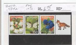 SLOVENIA  2002 Scott No(s). 504a; Bilberries, Blossoms, Moth; Mint Never Hinged - Slovenia