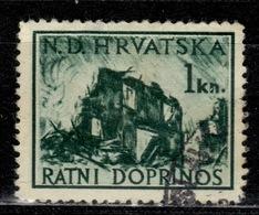 HR+ Kroatien 1944 Mi 3 Ruine Zwangszuschlagsmarke GH - Croatia