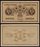 FINNLAND - FINLAND 25 PENNIA BANKNOTE 1918 PICK 33 XF (2)  (23583 - Finland