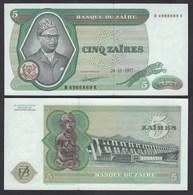 Zaire 5 Zaires 1977 Banknote Pick 21b UNC (1)    (25007 - Otros – Africa