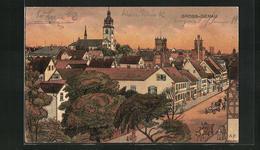 AK Gross-Gerau, Teilansicht Mit Kirche Im Abendlicht - Gross-Gerau