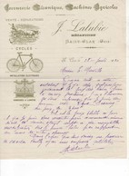605 FACTURE LALUBIE Mécanicien, Machines Agricoles, Serrurerie, Cycles, (bœufs, Vélo, Bicyclette )   Saint CLAR GERS 32 - France