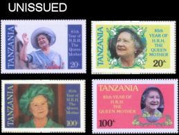 TANZANIA 1985 Queen Mother. ERROR:HRH.SET:4.UNISSUED-officially Planned (fr. Sheetlets) - Tanzania (1964-...)