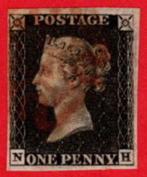 GBR SC #1 U (N,H) 1840 Queen Victoria 4 Margins W/red MC Cancel CV $390.00 - 1840-1901 (Victoria)
