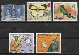 1937-76 Antigua Y Barbuda Reyes-fauna Mariposa Colibri-UPU 5v. Nuevos - Antigua And Barbuda (1981-...)