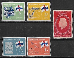 1954-65 Antillas Holandesas Reina-bandera Flamencos 5v. Nuevos - West Indies