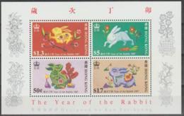 HONG KONG - 1987 New Year - Year Of The Hare Souvenir Sheet. Scott 485a. MNH ** - Hong Kong (...-1997)