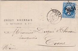 LAC De Nevers (58) Pour Cosne-sur-Loire (58) - 16 Août 1864 - Timbre YT 22 - CAD Rond Type 15 + Ob. Los. GC 2654 - Poststempel (Briefe)