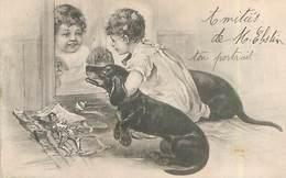 Illustration Enfant Devant Un Miroir - Chiens Teckel  N 2485 - Hunde