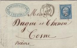 LAC De Roanne (42) Pour Cosne-sur-Loire (58) - 5 Août 1863 - Timbre YT 22 - CAD Rond Type 15 + Ob. Los. GC 3456 - 1849-1876: Periodo Classico