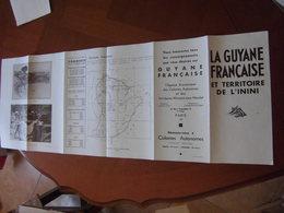 Guyane : Très Rare Dépliant Recto Verso De 1936 Avec Carte Et Photos Destiné à La Promotion Du Territoire - Dépliants Touristiques