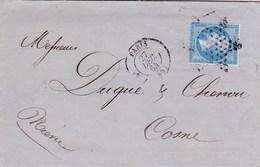LAC De Paris (75) Pour Cosne-sur-Loire (58) - 27 Décembre 1864 - Timbre YT 22 - CAD Rond Type 15 + Ob. étoile - 1849-1876: Periodo Classico