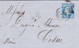 LAC De Paris (75) Pour Cosne-sur-Loire (58) - 4 Avril 1866 - Timbre YT 22 - CAD Rond Type 15 + Ob. étoile + Ambulant - 1849-1876: Periodo Classico