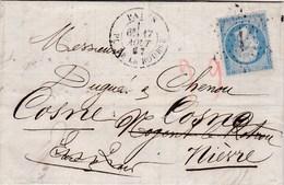 LAC De Paris (75) Pour Cosne-sur-Loire (58) - 17 Août 1867 - Timbre YT 22 - CAD  Type 15 & 17 + Ob. étoile 1 + Ambulant - 1849-1876: Periodo Classico