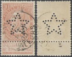 """Fine Barbe - N°57 Obl Simple Cercle """"Anvers / Valeurs"""" + Perforation De Firme En étoile. - 1893-1900 Barbas Cortas"""