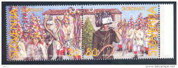 Slowenien Slovenia Slovenie 1999 Mi.No. 252 253 Used Brkini Skoromati Carnival Groups Traditionelle Faschings Kostüme - Slovenia