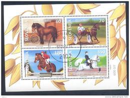 Slowenien Slovenia Slovenie 1999 Used Block ;  Fauna Horses Of Slovenia - Slovenia
