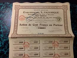 S.A.  Des  ÉTABLISSEMENTS  A. FAUVARQUE ( Cycles  Et  Motocyclettes )------Action  De  100 Frs - Industrie