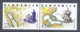 Slovenia Slovenie Slowenien 1992: Mi 20-21; Columbus- Discovery Of America, Santa Maria, Maps  MNH ** - Slovenia