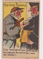 """Carte Fantaisie Humoristique Signée G./Nos Bons Paysans :""""vous, Avocat Qui Faites Croire Que Les Mensonges Sont Vérités! - Humor"""