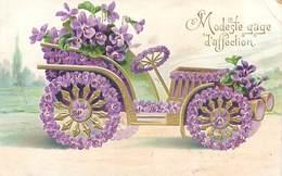 Carte Gaufrée -   Voiture Fleurs Viollettes    N 2492 - Other