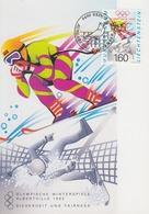 Carte  Maximum  1er  Jour   LIECHTENSTEIN   Jeux  Olympiques  D' Hiver   ALBERTVILLE   1992 - Invierno 1992: Albertville