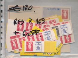FRANCE FACIALE VALEUR PERMANENTE TIMBRE ROUGE X 169 CARTES POSTALES X2 NON COMPTE + 6.2 FF - Collections