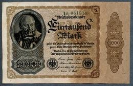 Pick82a  Ro81b  DEU-92c - 1000 Mark 1922 ** XF  !!! ** - [ 3] 1918-1933 : République De Weimar