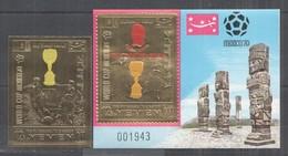 WW921 IMPERF YEMEN GOLD WORLD CUP MEXICO 1970 FOOTBALL OVERPRINT PELE ST+BL MNH - Fußball-Weltmeisterschaft