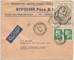 CHEFFER 30C PAIRE + TABLEAU 1FR LETTRE AVION ST ETIENNE 8.7.1969 POUR USA AU TARIF - 1967-70 Maríanne De Cheffer