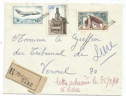 PA 2FR+50C+40C ANNULATION GRIFFE VESOUL LETTRE REC ETIQUETTE 70 LUZE 1968  POUR VESOUL HAUTE SAONE - Postmark Collection (Covers)