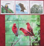 Uzbekistan  2016  Fauna  Birds   S/S +3 V MNH - Ouzbékistan
