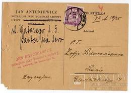 Advertisement Ukraine Poland Lvov Notary ANTONIEWICZ 1935 V. - 1919-1939 Republic