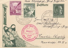 Allemagne - Zeppelin - Carte Oblitérée 01/12/1938 - Francfort/Reichenberg - Zeppelins