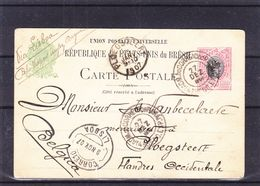 Brésil - Carte Postale De 1906 - Entier Postal - Exp Vers Ploegsteert - Cachet De Lisboa - Rare - Brieven En Documenten