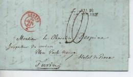 LETTRE DE GENEVEVE   20/01/1846 ROUGE  TAXE 10  ET CACHET DE ST  JULIEN - Poststempel