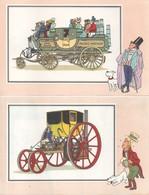 LOT DE 6 CHROMOS TINTIN DE LA COLLECTION VOIR ET SAVOIR L'AUTOMOBILE DES ORIGINE A 1900 SERIE 1 - Chromos