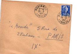 Sur Lettre, Cachet Postal DAVIGNAC  CORREZE 1957 - Marcophilie (Lettres)