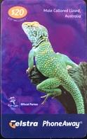 AUSTRALIE  -  Telstra   -  Prepaid  -  PhoneAway Card  -  Male Collared Lizard  -  $ 20 - Australië
