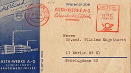 Asta Werke AG - Chemische Fabrik  - 21a Brackwede Westfalen - 1954 Illustrierter Adresszettel Warenprobe - Médecine