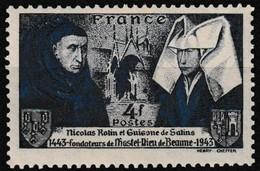 T.-P. Neuf** - 5e Centenaire De L'Hôtel-Dieu De Beaune Nicolas Rolin Guigone De Salins - N° 583 (Yvert) - France 1943 - France