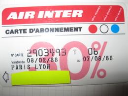 Télécarte Air Inter Avion Abonement - Telefoonkaarten