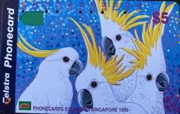 AUSTRALIE  -  Telecom Australia  -  Cacatoès  -  Exhibition Singapore  -  $ 5 - Australië