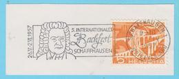 J.P.S. 9 - Compositeur - J.S. Bach  N° 165 - Suisse - Oblitération - Schaffhausen 1957 - Musique