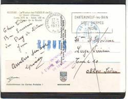 MARCOPHILIE . GRIFFE LINEAIRE REBUTS . INCONNU A L'APPEL DES PREPOSES DE SEDAN  Sur CARTE POSTALE De FADES . LE VIADUC - 1961-....