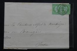 FRANCE - Lettre De Paris En 1871 Pour La Comtesse De Montaigu Au Château De Beauregard ,affr. Napoléon 5ct X2  - L 61829 - Storia Postale