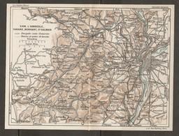 CARTE PLAN 1927 - RÉGION LYON L'ARBRESLE TARARE MORNANT St GALMIER - ROUTES D'EXCURSIONS CHEMINS & SENTIERS - Topographical Maps