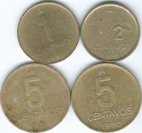 Argentina - Australe - ½ (1985 - KM95); 1 (1987 - KM96.2) & 5 Centavos (1985 - KM97.1 & 1987 & KM97.2) - Argentina